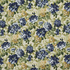 E314 Blue and Green Floral Indoor and Outdoor Upholstery Fabric