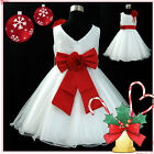Red White Christmas Wedding Party Flower Girls Dresses AGE 1,2,3,5,6,7,8,10,12Y