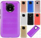 For Motorola Moto E4 Brushed HYBRID Shockproof Carbon Fiber Trim Case Cover