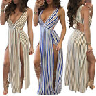 Sexy Women High Slit Maxi Dress Casual V-neck Sleeveless Slim Summer Beachwear