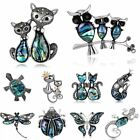 Charm Animal Owl Butterfly Dragonfly Cats Crystal Brooch Pin Christmas Jewelry