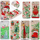 Bling Clear Merry Christmas Glitter Liquid Hard Case Cover for iPhone 6 6s 7Plus