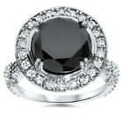 Women's 6ct Treated Black Diamond Halo Vintage Engagement Ring 14K White Gold