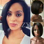 UK BOB Style Lace Front Wig 100% Real Human Virgin Hair Straight For Black Women