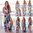 Sexy Women High Slit Maxi Dress Cocktail Backless Slim Summer Party Beachwear