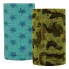 "VET PowerFlex Cohesive Bandage Wrap 4"" x 5 yards Camo Stars Zebra Print Choice"