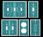 BLUE GREEN FLORAL TILE  LIGHT SWITCH COVER PLATE  #25  PLASTIC PLATES