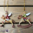 Gisela Graham Angel Fairy On Rocking Horse Hanging Christmas Tree Decoration 8cm