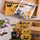 100pcs Halloween Pumpkin Gifts Bags Plastic DIY Candy Cookies Party Craft Bags