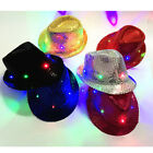 Kids Adult LED Light Up Fedora Hat Flashing Sequin Prom Fancy Dress Party Hat