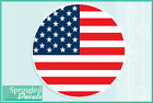 AMERICAN FLAG Round Vinyl Decal Car Truck Window Sticker CUSTOM SIZES