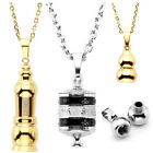 Stainless Steel Bullet Holder Memorial Cremation Ash Urn Pendant Necklace Chain