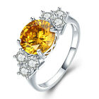 Propose Rings Yellow Crystal Rings Elegant Gift Romantic Rings Chic SZ 6-10 RING