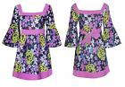 UK Ladies Vintage Dress Top Cotton Floral Print Womens Belted Flared Sleeves