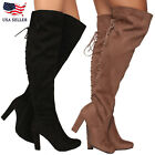 NEW US Sexy Women Thigh High Over The Knee High Heel Flat  Winter Boots Shoes