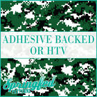 Forest Green & Black Digital Camo Pattern Adhesive Vinyl or HTV for Crafts