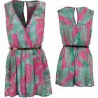Ladies Sleeveless Low V Neck Wrap Chiffon Lined Belted Party Playsuit