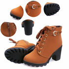 Ladies Zipper Buckle Platform Shoes Womens Fashion High Heel Lace Up Ankle Boots