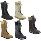 Refresh IC73 Women's Lace Up Quilted Sweater Collar Side Zipper Snow Boots