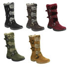 Forever IC01 Women's Studded Buckle Strap Mid-calf Cold Weather Winter Boots