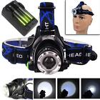 12000LM CREE T6 LED Zoom Headlamp Head Torch Headlight+18650 Batteries+ChargerBF