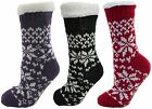 Ladies Fairisle Fleece Lined Chunky Slipper Socks 4-7