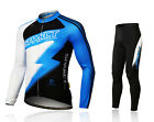 Spakct Cycling Suits Long Jersey Long Sleeve & Pants-Lightning With Pad Blue