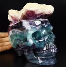 "Beautiful Huge 6.3"" FLUORITE DRUSE Carved Crystal Skull, Realistic #971"