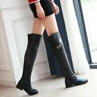 Winter Women's Low Heels Faux Leather Fur Lined Warm Over Knee High Boots Shoes