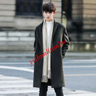 Winter Mens British Thick Warm Long Wool Blend Coats Slim Fit 2-Buttons Outwear