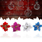 20CM Christmas Party Poinsettia Glitter Flower Gold Bow Clip On Decoration Hot