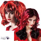 Halloween Ladies Red Black Wig Fancy Dress Costume Accessory Demon Devil Bride