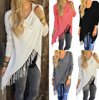 Fashion Women Long Sleeve Tassel Irregular Hem Loose Casual Cotton Tops Blouse