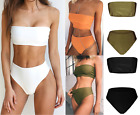 2 Pcs UK Sexy Womens Off-Shoulder Swimsuit Bathing Suit Swimwear Tube Bikini