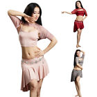 Latest Belly Dance Costume Set Lace Decor Tops Camisole Skirt Performance Outfit