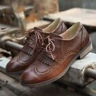Retro Fashion Women's Oxford Flats Lace Up Faux Leather Casual Brogue Lady Shoes