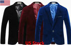 US Velvet Blazer Jacket Adults Smart Slim-Fit Blazers Coat XS S M L XL For Men