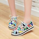 New Girls Sports Sneakers Lace up Flat Feel Printed Round Toe Casual Shoes Plus