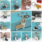 Cute Animal Pet Dogs Key Chain Corgi Husky Poodle Bulldog Pendant Metal Keyring