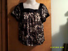 """NEW LADY""""S APOSTROPHE DARK BROWN S/S  SQ NECK BABYDOLL PRINT  PULLOVER TOP  N"""