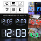 Large Modern Digits Led Wall Clock Table Timer 24/12 Hour Display 3D Dimmable