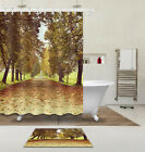 """60/72/79""""Waterproof Fabric Polyester-Path Full Of Leaves-Shower Curtain&Mat&Hook"""