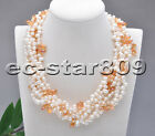 """D0188 6row 18"""" Rice Freshwater Pearl drip Faceted crystal Necklace Bracelet"""