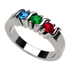 NANA S-Bar Mothers Rings 1 to 6 Simulated Birthstones - Silver or 10k