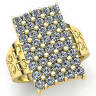 Real 0.75carat Round Diamond Mens Personalized 5Row Cluster Ring 10K Gold