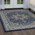 Traditional Oriental Blue Bordered Area Rug FREE SHIPPING