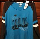 New Carolina Panthers Women's Long sleeve T-shirt Lady NFL Tee Shirt Blue Sz XL