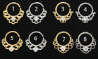 Clear CZ Rhodum Gold Plate Bendable Septum Cartilage Ear Nose Hoop Ring 16g #389