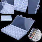 28-Slots Clear Plastic Adjustable Jewelry Storage Box Necklace Hoard Beads Case