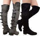 Ladies Womens Over The Knee Thigh High Bow Gusset Low Mid Heels Boots Shoes Size